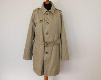 Mens Trench Coat BATISTINI Beige Gray Belted Scandinavian Overcoat Short Mens Trench Coat Medium Size