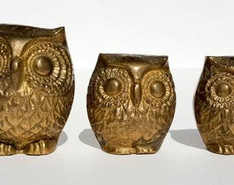 Set of 3 Brass Owls