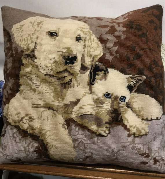 Needlepoint cushion, pillow, vintage, Labrador Puppy, Siamese Kitten, dog, cat hand embroidered