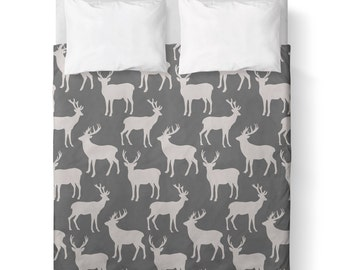 Deer Silhouette Grey and White Duvet Cover/ Comforter cover/ 3 sizes available, king, queen, twin /bedding/Deer Duvet Cover