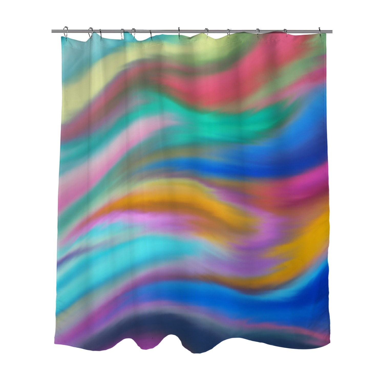 Shower Curtain Watercolor Multi Colored Bright Abstract