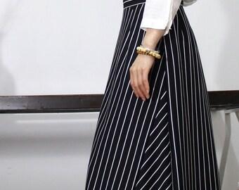 Original stripe splicing  A-line skirt