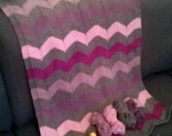 PATTERN baby blanket chevron ENGLISH