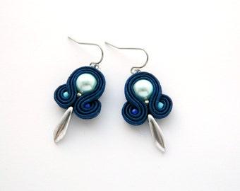dark blue earrings, cobalt earrings, blue earrings, light blue earrings, small earrings, dangle earrings, soutache earrings, her earrings