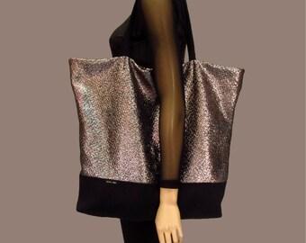 Silver Tote Bag,Diaper Bag,Black Silver Bag,Elegant Tote Bag,Metalic Tote Bag,Rose Bag,Shopping Bag,Big Market Tote, Handbag in Silver