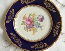 "Epiag D. F. Carlsbad Cobalt, Collectors/Cabinet Plate. Gorgeous Rich Cobalt Blue Colour Thick Gilding, Lush Flowers in the Centre. 10"" Diam"
