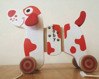Pull Along Dog Personalised, Toddler Toy, Wooden Toy, Pull sling, Gifts for Children, Personalised Gift, Nursery
