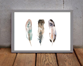 Watercolor Feather Print - Nature Decor - Watercolor Painting - Archival Print