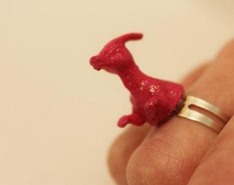 Pink Parasaurolophus Ring