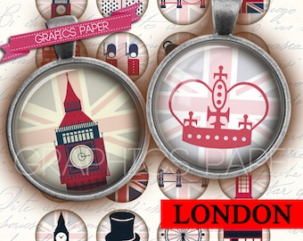 """London Circle Images, Digital Collage Sheet 1 inch circles, 1.5"""", 1.25"""", 30mm, Jewelry Making, Bottle Caps, Arts and Crafts, Supplies - td9"""