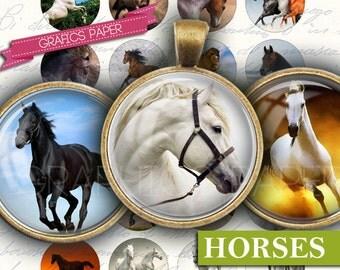 "Horses Images Digital Collage Sheet - td78 - 1.5"", 1.25"", 30mm, 25mm, 1 inch Circle Images for Pendants Cabochons, Bottle Caps Printable"