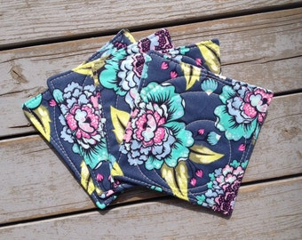 Modern Floral Coasters / Tula Pink Elizabeth Fabric Coasters / Blue and Purple Home Decor / Modern Flower Print / Set of 4