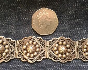 Vintage Silver Filigree Cuff Bracelet
