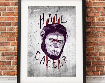 Hail Caesar! Planet of the Apes, movie, poster, sic-fi, classic, space, art, ape, future, war, time-tavel, retro, grunge, horror