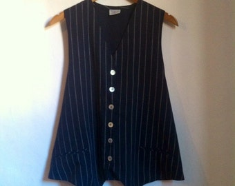 "SALE was 22 Maternity Waistcoat. 1980s Navy Blue and White Pin Stripe Waistcoat. Tomorrow by Mothercare. Size 14 Bust 42"". Maternity Wear"