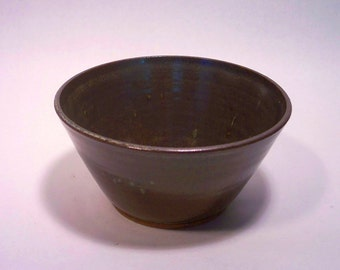 Soup or cereal bowl, stoneware pottery in a blue green brown variegated glaze, 4 x 7 inches