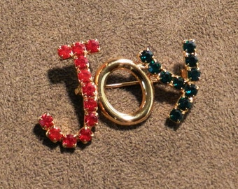 """Vintage Brooch """"JOY"""" with Red and Geen Rhinestones on a Gold Tone Metal           00595"""