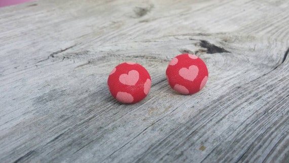 Button Earrings, Heart earrings, Costume Jewelry, Fabric Earrings, Round Earrings, Nickel Free Earrings, Valentine Earrings, Red earrings