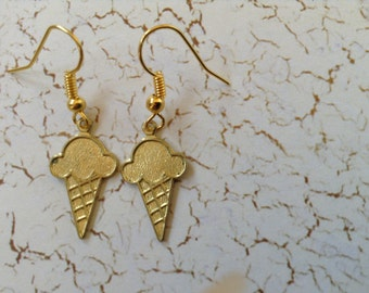 Brass ice cream cone earrings (item #283)