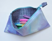 Unicorn Purple Zipper pouch - Turquoise Zipper | pencil case, clutch, marker bag, purse organizer | hand-dyed + handmade by Boolean Shop