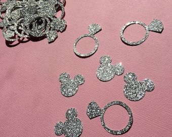Minnie Mouse Inspired Wedding Confetti - Diamond Rings Minnie Mouse cutouts - disney Wedding confetti / silver glitter