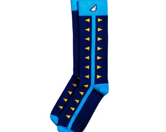 "Memphis Grizzlies Fan Gift / Shark Teeth Navy, Sky Blue & Gold Men's Dress / Casual Socks - ""Chomp Chomp"" Christmas Holiday Stocking Stuffer"