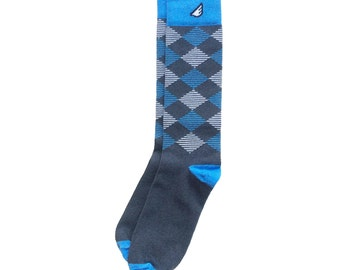 "Wedding Groomsmen Socks | UNC Argyle socks - Dark Grey, Sky Blue & White - Fun Colorful - ""Scotsman"" Christmas Holiday Gift Stocking Stuffer"