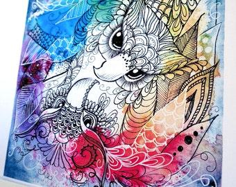 Rainbow yinyang zentangle owls. Zendoodle owl art, print of my original painting.