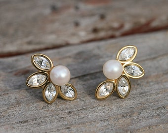 Vintage Monet Gold Tone Pierced Costume Earrings with Rhinestones and Faux Pearls