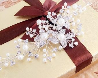 rystal & pearl flower headband, wedding hair hoop,bride hair accessories