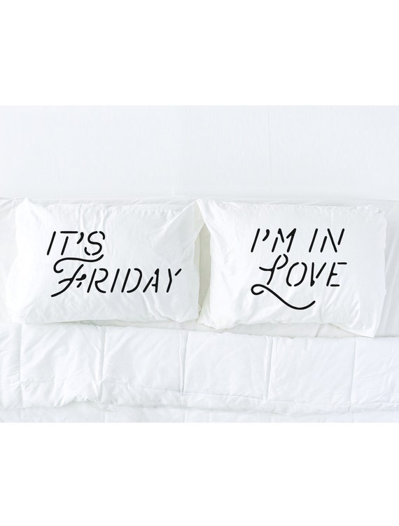 His and Hers Pillowcase Set, It's Friday I'm in Love in Black, 80s music, The Cure, pillowcases with lyrics, black and white bedding