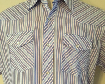 Vintage Large Wrangler Red White Blue Striped Plain Pearl Snap Button Western Cowboy Shirt