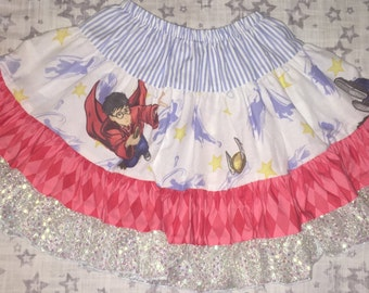Harry Potter Skirt made from Repurposed Bedsheet and New Fabric - Girls' size 4/5