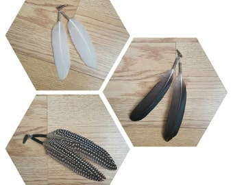 Tribal Feather Hair Clip Extension: Goose Mascovy Duck, Guinea Fowl- boho/hippie/tribal/native america/smudge.
