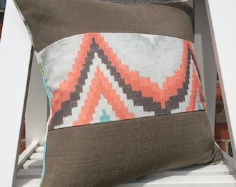 Large cushion in Linara and Weymss fabrics