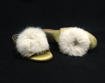 1960's Slippers | Gold Snowflake Feather Pom Pom Slippers | Size: 5B