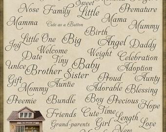 53 Gorgeous Baby Word Art Instant Digital Downloads