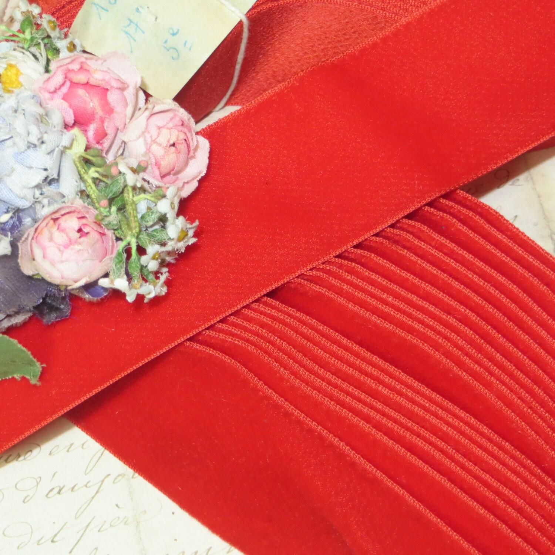 Vintage Swiss VELVET Ribbon Red