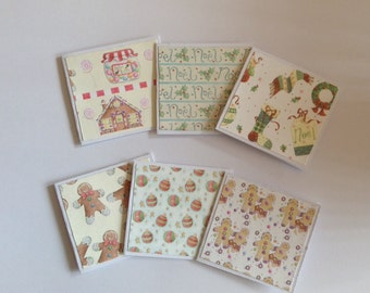 Christmas mini cards, Christmas card set of 6, blank cards, gingerbread men