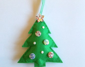 Christmas tree Christmas decoration, button tree, felt decoration, green
