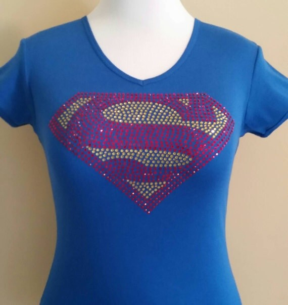 Superman rhinestone t shirt costume t shirt by cleidesigns for Make your own superman shirt
