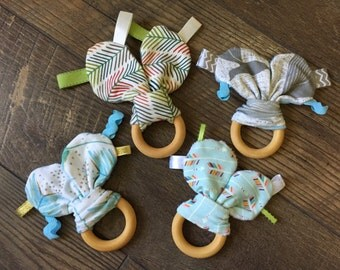 Bunny ear teething rings toy with minky backing and tags