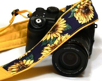 Sunflowers Camera Strap. DSLR SLR Mirrorless Camera Strap. Canon Nikon Camera Strap. Blue Yellow camera strap. Camera Accessories