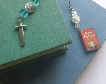 King Arthur and Excalibur bookmark book thong