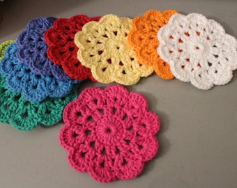 set of 10 crochet coasters