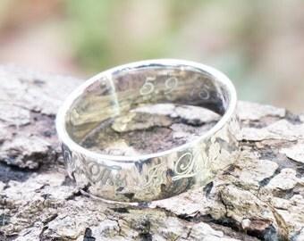 6 mm CUSTOM ENGRAVED RING,Silver Ring, Personalized Rings, Silver Character,Sterling Silver Ring, Best Engraved Ring, Custom Ring, On Demand