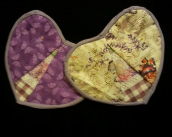 Heart shaped lavender potholders (goes with our zipper apron)