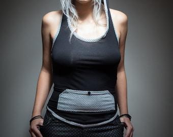 woman bare back hooded grey black polka dot tank top