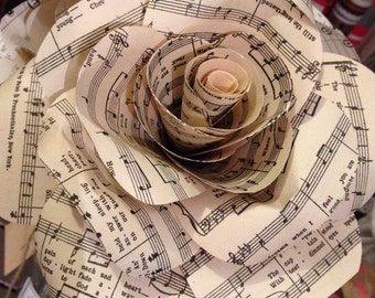 Handmade music note paper flowers