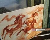 wild horses, vegan, handmade gift, sorrell, quarter horse, art, ponies, horses, horse, gift, small artwork, western, southwest, primitive